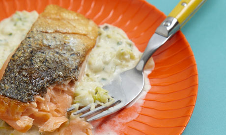 Seared salmon with leek and potato