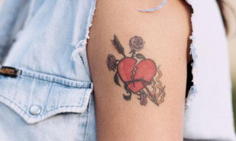 love heart tattoos on foot. girlfriend love heart tattoos