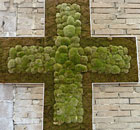 A cross made of moss from the Urban Physic Garden in Southwark, London