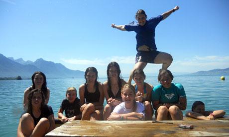 Lake swimming at Camp Suisse