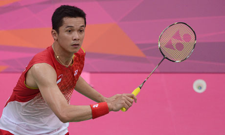 Top flight … Taufik Hidayat of Indonesia competes in the Olympic Games 2012.