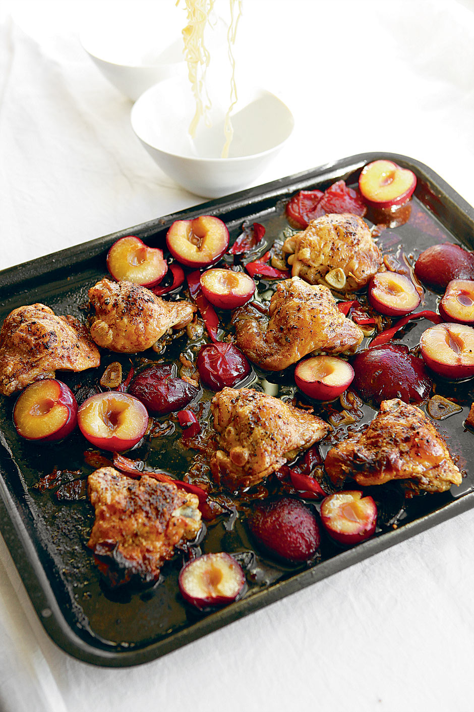 Hugh Fearnley-Whittingstall's recipe for chicken and plums with soy