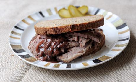 beef on rye sandwich