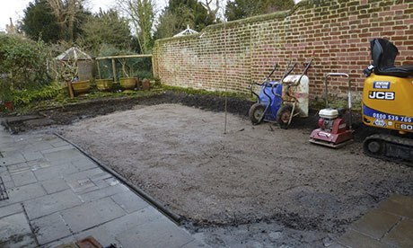 The newly levelled courtyard