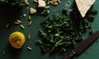 Raw kale salad with lemon and parmesan