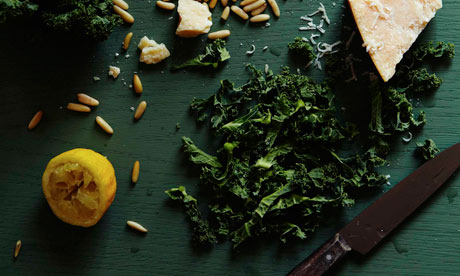 Raw kale salad with lemon and parmesan