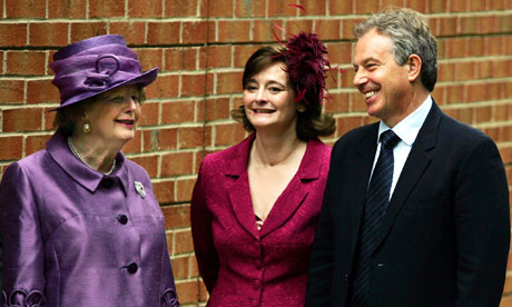 Margaret Thatcher, Cherie Blair and Tony Blair