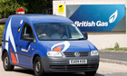 Workers leave a British Gas facility in Leicester