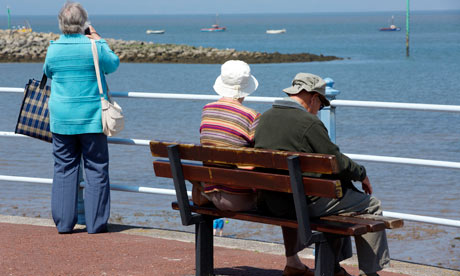 pensioners at seaside