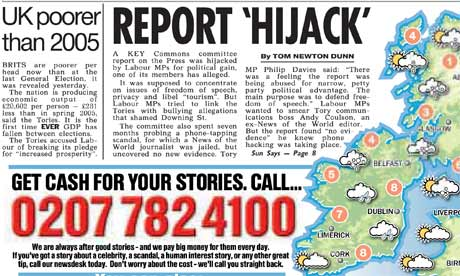 How the Sun reported the News of the World's phone-hacking affair