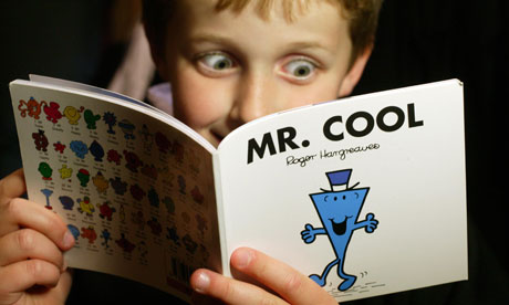 A child reading Mr Cool, one of the books from the Mr Men series by Roger Hargreaves. Photograph: Frank Baron for the Guardian Frank Baron/Guardian - Mr-Men-007