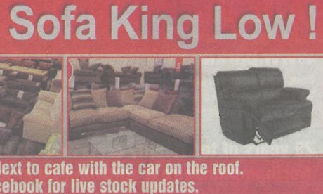 Sofa king39;s cheeky ad. Click for larger image