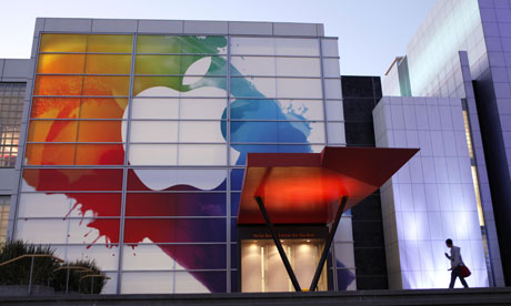An Apple logo at Yerba Buena Center in San Francisco