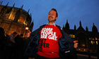 Gay rights campaigner outside parliament
