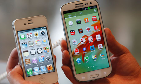 The iPhone (left) and the Samsung Galaxy S III