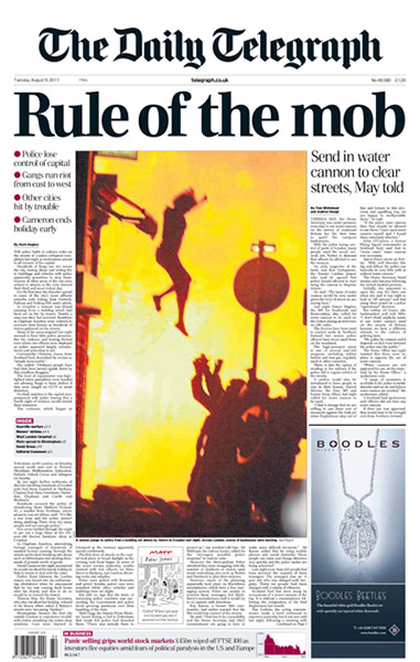 UK riots: Daily Telegraph