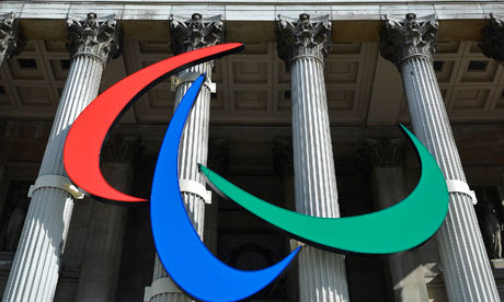 The Paralympic Games logo is seen outside the National Gallery in London
