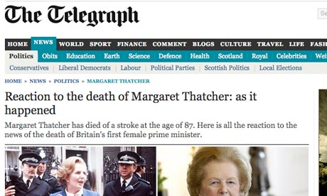 Telegraph front on Thatcher death