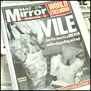 Daily Mirror front cover alleging British soldiers torturing prisoners in Iraq