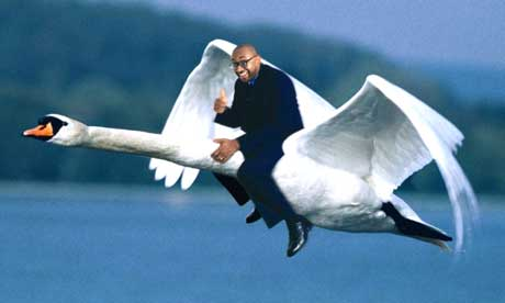 Howard flies the swan, image courtesy of The Guardian