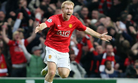 Scholes scores against Barcelona