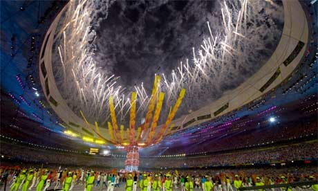 Olympic games closing ceremony at the Bird's Nest stadium in Beijing. Photograph: Dan Chung