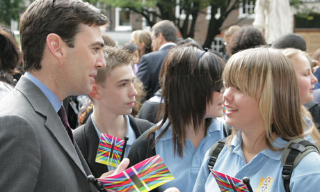 Andy Burnham with schoolchildren at Creative Economy open day