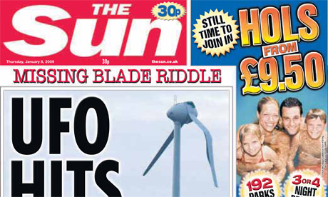 The Sun 'UFO hits wind turbine' front page