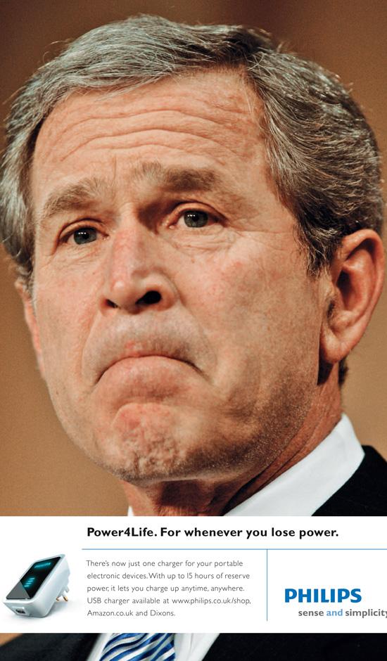 George Bush in der Philips Power4Life Kampagne