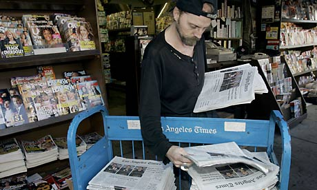 The Los Angeles Times on sale at a Hollywood newsstand