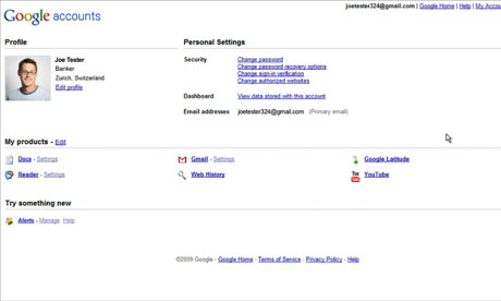 Google Dashboard with banker