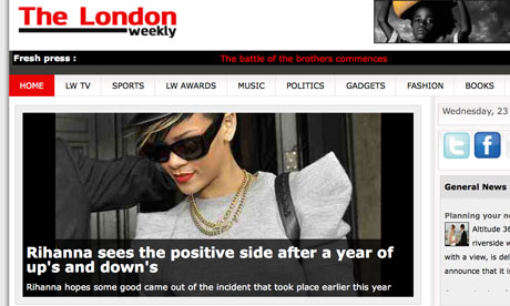 The London Weekly website continues to struggle to write Rihanna headlines