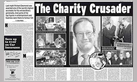 Daily Express 'The Charity Crusader' spread