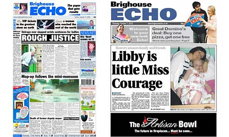 The Brighouse Echo's old and new front pages