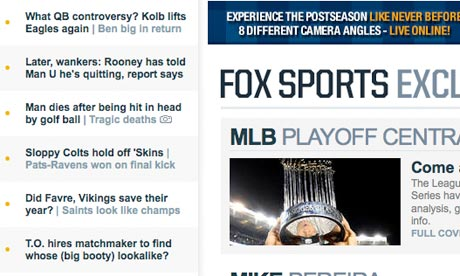 Fox Sports Wayne Rooney headline