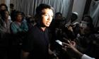 Madagascan president Andry Rajoelina speaks to press