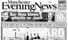 Manchester Evening News 'Aboard the tram' front page
