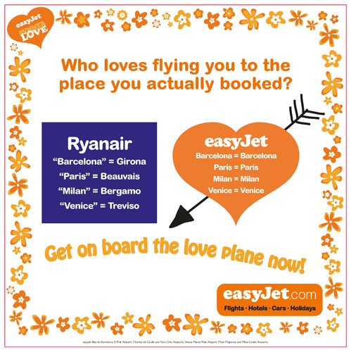 easyJet ad about Ryanair