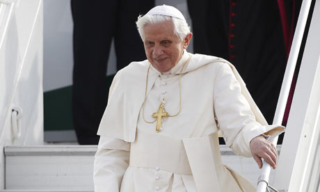 Pope Benedict XVI arrives at Malta International airport for his pastoral visit