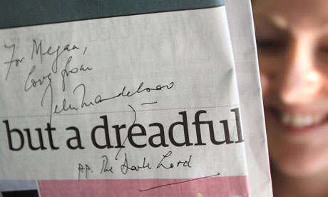 Lord Mandelson signed Guardian 'Dark Lord'