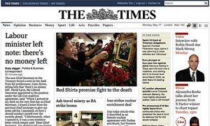 Times website - dummy homepage