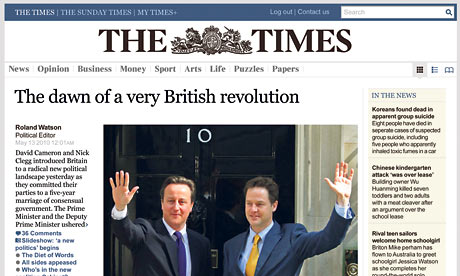 The Times website design May 2010