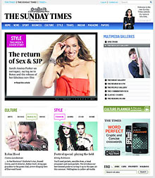 Sunday Times website design May 2010