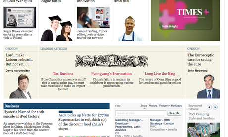 The Times website clock