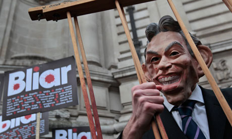 Protester in Tony Blair mask outside Chilcot inquiry