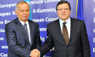 Uzbekistan president Islam Karimov, left, with European Commission President Jose Manuel Barroso