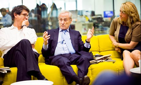 Harold Evans at the Guardian news conference