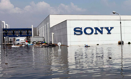 Sony factory submerged by Thai floodwaters
