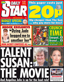 Daily Star Susan Boyle headline