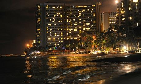 Tsunami waves on beach in Waikiki, Hawaii
